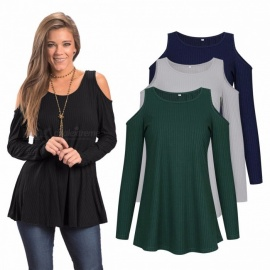Europe And America Long Sleeve T Shirt O-Neck Off Shoulder Knitted Solid Color Shirts For Women AM129 Black/S