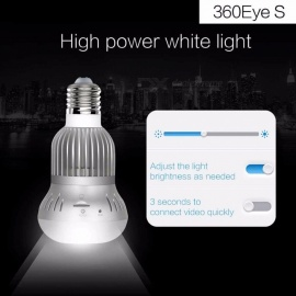 Bulb Light Camera WiFi 960P IR And White LED Fisheye 3MP Wireless IP 360 Degree Panorama Camera Support 128GB TF Card NTSC