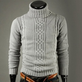 Male Pullovers Casual Slim Sweaters Solid High Lapel Jacquard Hedging Turtleneck Sweater Gray/M