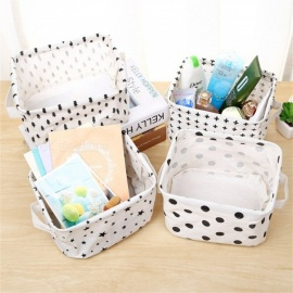 20*17*12.5cm Premium Line Storage Bin With Handles, Multi Function Cotton Storage Basket For Books, Makeup, Toys White/M