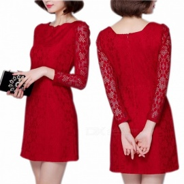 Europe And America Dress O-Neck Long Sleeve Lace Office Lady Wave Edge Slim Dresses For Women Red/L/170
