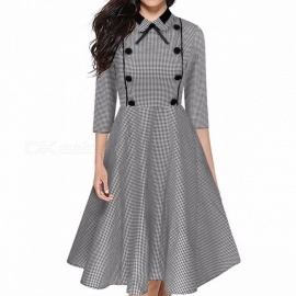Europe And America Dress Vintage Plaid Print Turn-down Collar Button Bow A-Line Dresses For Women Gray/S/170