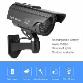 Solar Powered Fake Dummy Camera High Simulation CCTV Home Security Surveillance Camera With LED Red Light Flashing