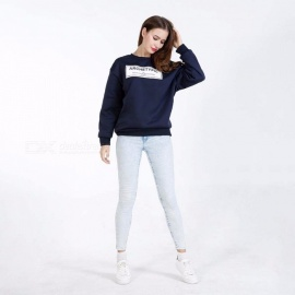 Womens Large Round Neck Long Sleeve Hoodie, Casual Loose-fitting Slogan Quilted Sweatshirt For Women Navy Blue/M