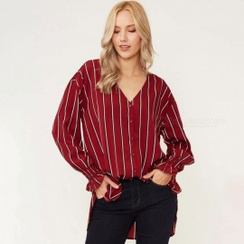 Europe And America Blouses V-Neck Long Sleeve Striped Casual Loose Shirts For Women Red/XL