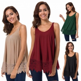 Europe And America T Shirt O-Neck Sleeveless Loose Lace Patchwork Shirts For Women Burgundy/XL