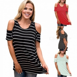 Europe And America T Shirt O-Neck Striped Butterfly Short Sleeve Off Shoulder Shirts For Women Black/S