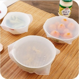 3PCS Food Fresh Keeping Tools Reusable Silicone Food Saran Wraps Seal Vacuum Cover Stretch Lid Kitchen Accessories Clear