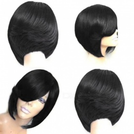 Women Real Nature Short Straight Female Human Hair Wigs Heat Resistant Wig Green