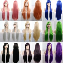 80cm Long Straight Cosplay Wigs Bangs Costume Cartoon Role Hairpiece Wig Synthetic Hair Blonde