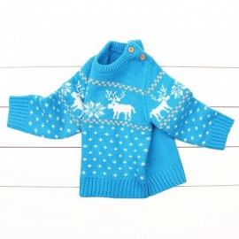 Autumn Winter Christmas Knitted Baby Button Sweaters Cartoon Elk Kids Sweater Boy Pullovers Lake Blue/6M