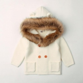 Baby Coat Winter Fur Collar Hooded Knitted Warm Tops Button Sweat Girls Baby Clothing Coats Blue/6M