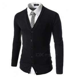 Men Cardigan Fashion Casual Slim Sweaters Business V-Neck Knitted Sweater Black/M