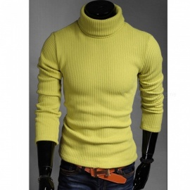 Men Pullovers Casual Slim Sweaters Solid Color High Lapel Jacquard Hedging Turtleneck Knit Sweater Black/M