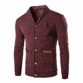 Men Cardigan Korean Version Casual Slim Sweaters Turn-down Collar Knitted Sweater Gray/M