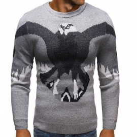 Men Pullovers Casual Thicken Causal Slim Sweaters O-Neck Tercel Print Knitted Sweater Gray/M