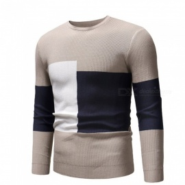 Men Pullovers Casual Thicken Causal Comfortable Slim Sweaters O-Neck Patchwork Knitted Sweater Patchwork Beige/M