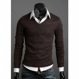 Men Pullovers Solid Color Casual Slim Sweaters V-Neck Knitted Sweater Black/M