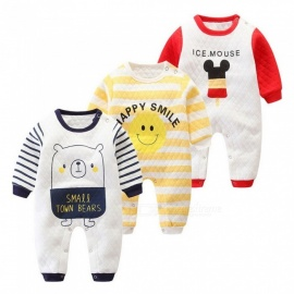 Autumn Newborn Infant Baby Long Sleeve Cotton Rompers Button Cartoon Jumpsuit Clothes Outfit Blue/3M