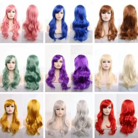 Europe And America Cosplay Wig Anime Holiday Party Dress Up Wavy Hair Costume Cartoon Role Synthetic Wigs 70cm Blonde