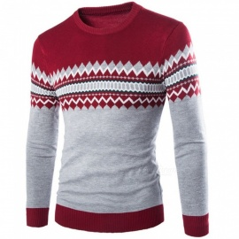 Men Pullovers Casual Slim Sweaters O-Neck England Style Print Patchwork Sweater Y234 Dark Grey/M