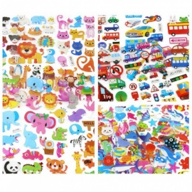 Fashion Brand Kids Toys Cartoon 3D Stickers Children PVC Bubble Stickers 10PCS Random Color