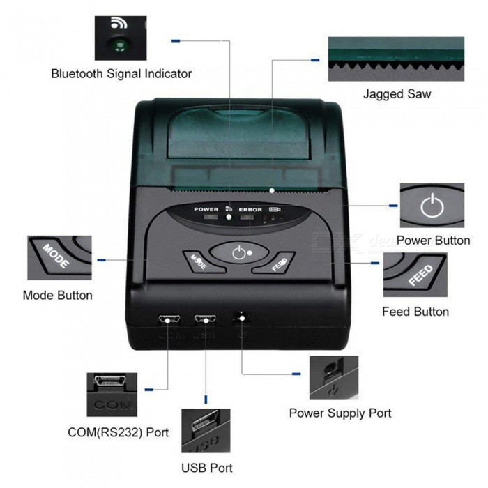 ZHAOYAO USB Thermal Printer 58mm Bluetooth Thermal Printer POS Receipt  Printer Barcode Printer for iOS Android Windows