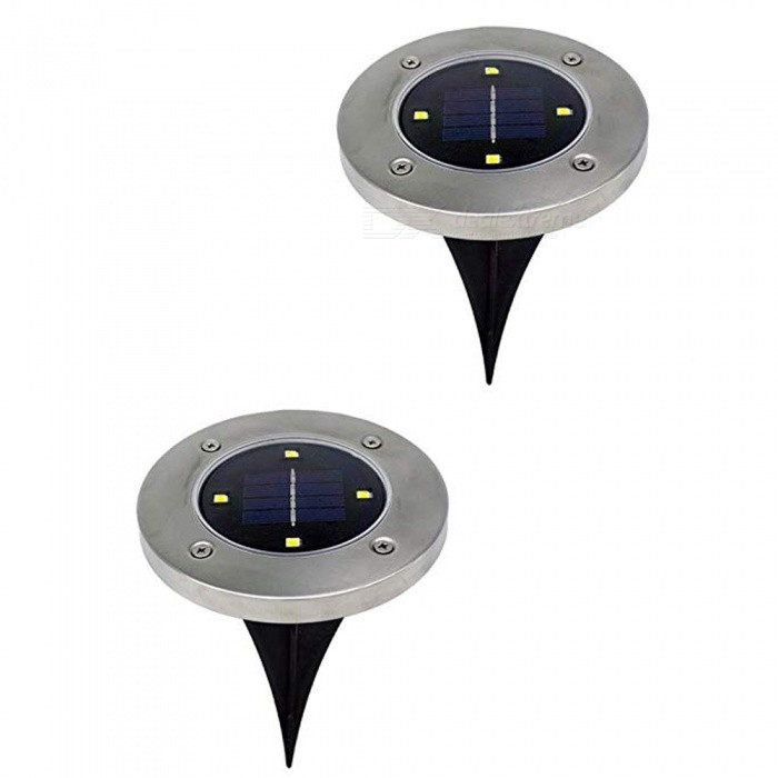 2Pcs Solar Ground Lights,Garden Pathway Outdoor In-Ground Lights With 4-LED Solar Disk Lights Auto On/Off Outdoor Lighting