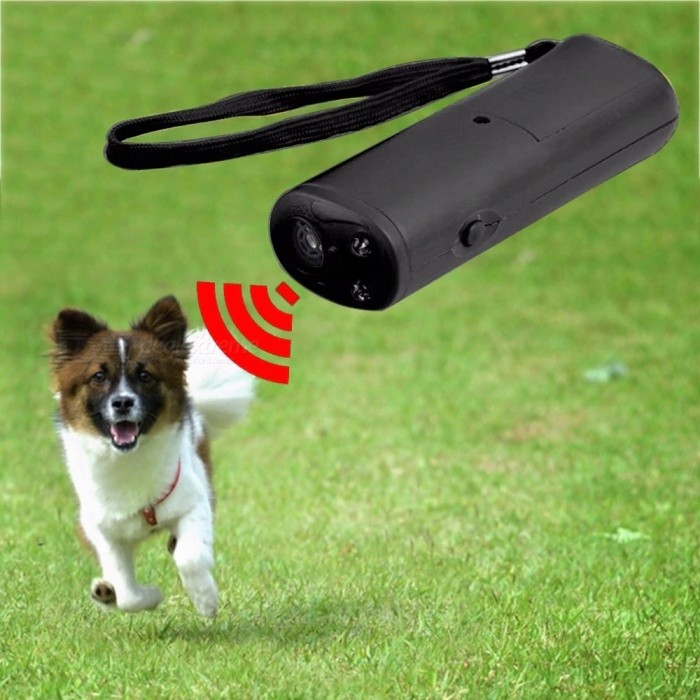 3 in 1 Anti Barking Stop Bark Dog Training LED Ultrasonic Anti Bark Barking Dog Training Repeller Control Trainer Device - Black