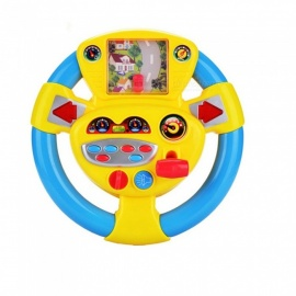 Vehicle Simulation Steering Wheel Car Games Baby Early Education Toy - Yellow + Blue