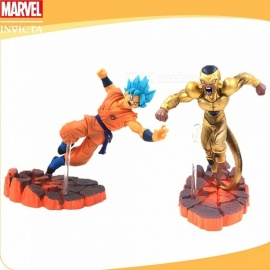 2PCS Japan Anime Dragon Ball Blue Hair Wukong Gold Flisa PVC  For Boys Children Model Toys Gifts Multi