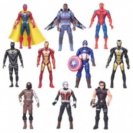 10PCS Western Anime Avengers Spider-Man Iron Man Superhero League Model Gifts For Boys Doll Hand Do Toy Multi