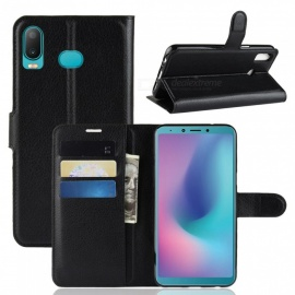 PU Leather Flip Open Back Full Body Case w/ Stand for Samsung Galaxy A6S - Black