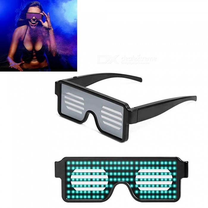 LED-Luminous-Glasses-New-Holiday-Multi-Function-Display-Glasses-Birthday-Party-Halloween-Christmas-Green-Light