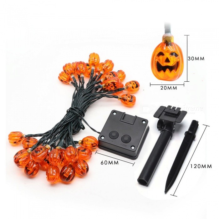 Solar Pumpkin Lantern String Halloween Decoration Outdoor Waterproof Light Garden Decoration Light Lantern Horror