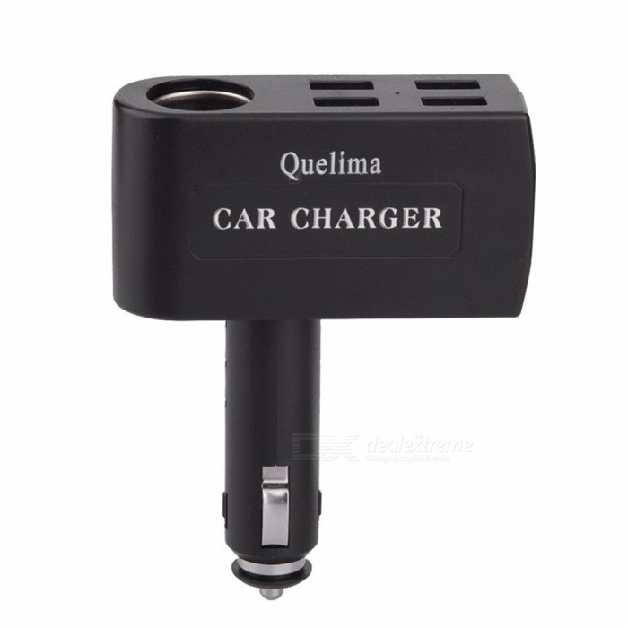 Quelima Car Point Smoke Hole Charger Four Port USB Car Charger + QC3.0 1-Port USB Car Charger