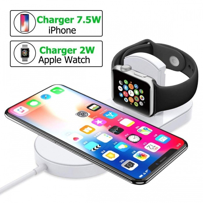 Measy 2 in 1 Magnetic Charging Pad Charging Docks Holder Compatible with Apple iWatch Series, iPhone X/8/8 Plus