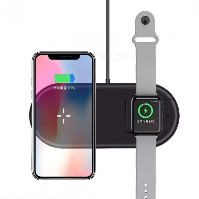 Measy 2 in 1 Qi Wireless Charging Pad For iWatch Apple Watch Series 1/2/3/4, iPhone XS Max XR X 8 Samsung S9 S8 S7 Note 9 8