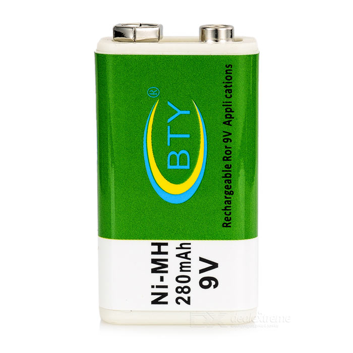BTY 280mAh Ni-MH 9V Rechargeable Battery - Green + White
