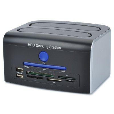 All-in-1 Dual HDD Docking Station w/ Touch Backup for IDE HDD - Black