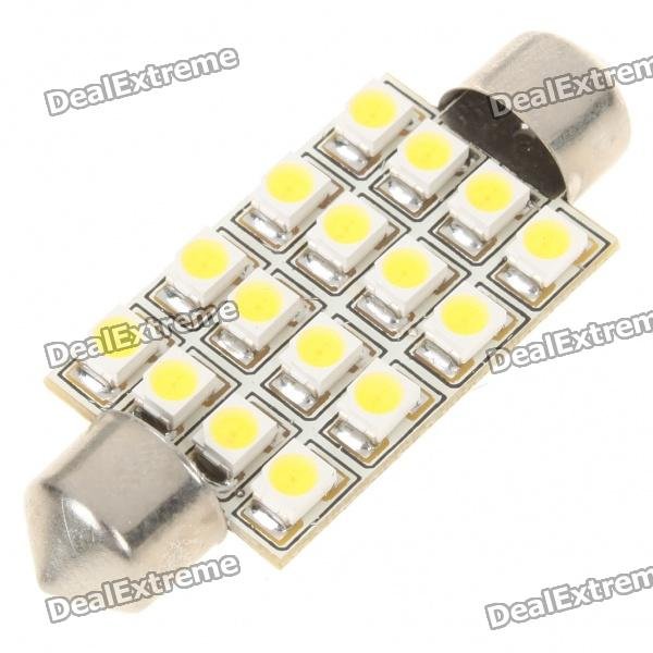 1.5W 41MM 16-SMD 3528 LED 65LM White Light for CarCar Interior Lights<br>Material:Form  ColorWhiteEmitter TypeLEDTotal Emitters1Color BINWhitePower5WColor Temperature:ApplicationRoof light,Reading lampPacking List<br>