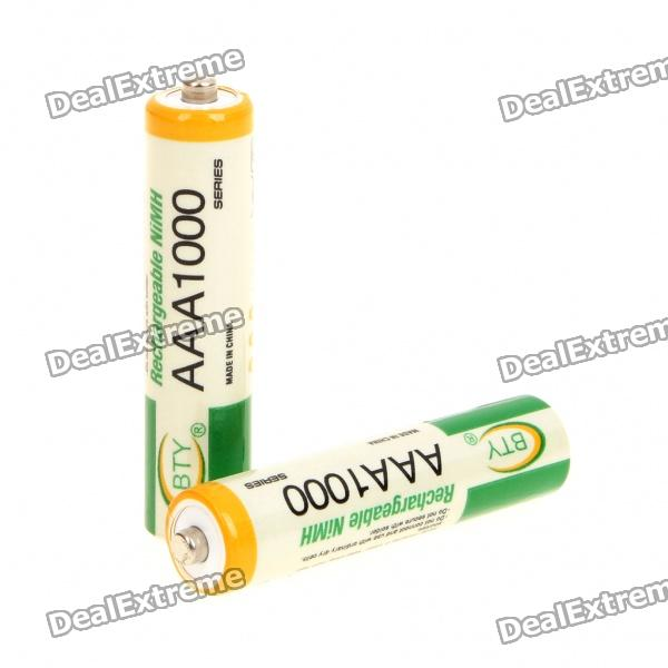 "Rechargeable ""1000mAh"" 1.2V AAA Batteries - Actual 350mAh (2-Piece Pack)"