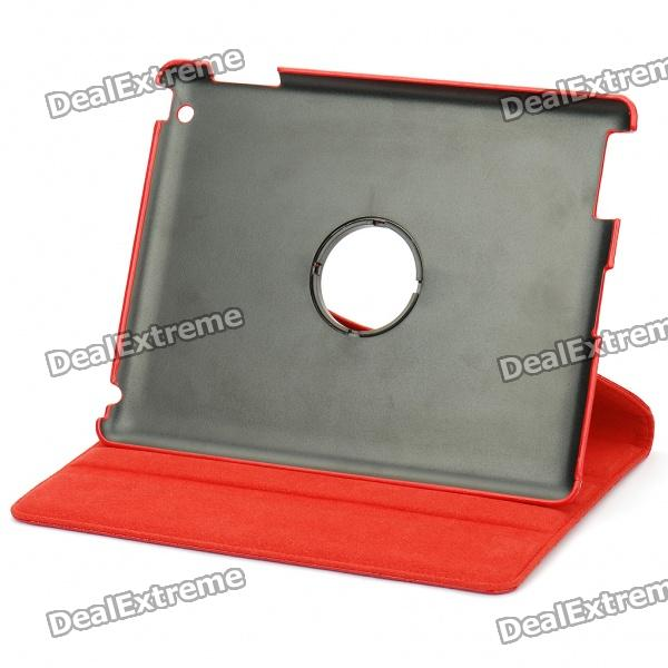Protective Crocodile Pattern PU Leather 360 Degree Rotation Holder Case for Ipad 2 - Red