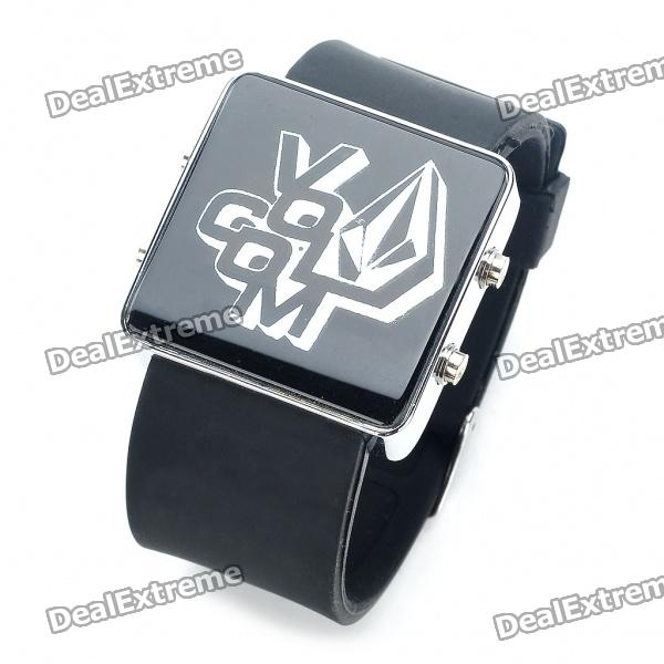 Stylish Water Resistant Red LED Digits Wrist Watch - Black + Silver (1 x 377)