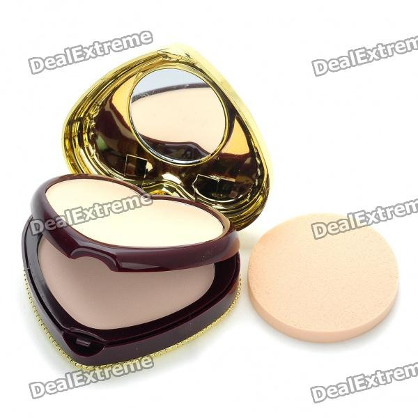 Elegant Heart Shaped Cosmetic Make-Up Dry/Wet Powder Sets - Shiny White