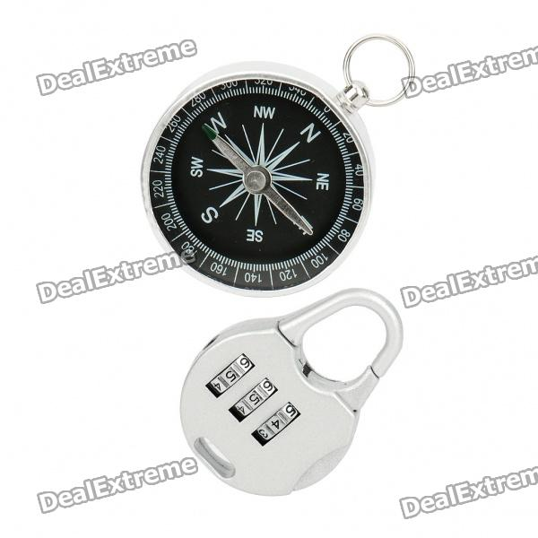 Stainless Steel Compass + 3-Digit Padlock Set