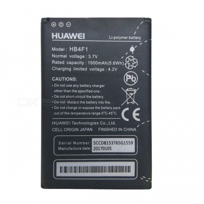 HB4F1 Compatible Rechargeable 1500mAh Battery for Huawei - Black