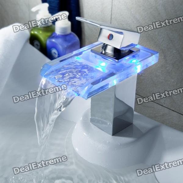 LED Color Changing Waterfall Bathroom Faucet (Chrome Finish)
