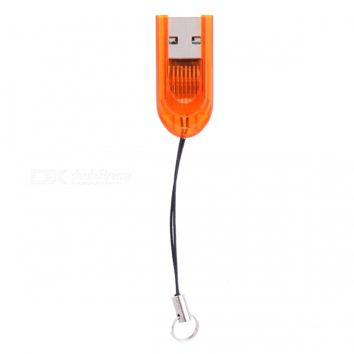 Smallest MicroSD TransFlash USB Card Reader with Cover - Orange