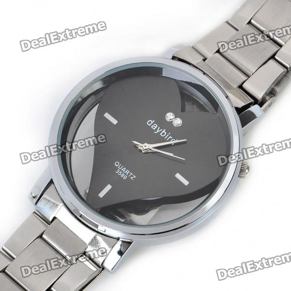DayBird Heart Style Stainless Steel Quartz Wrist Watch - Silver (1 x LR626) for sale in Bitcoin, Litecoin, Ethereum, Bitcoin Cash with the best price and Free Shipping on Gipsybee.com